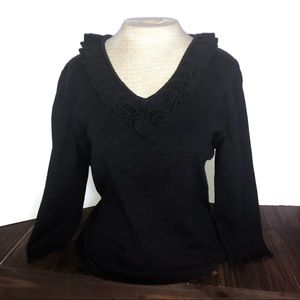 Black Knit Coldwater Creek V Neck Ruffle Top